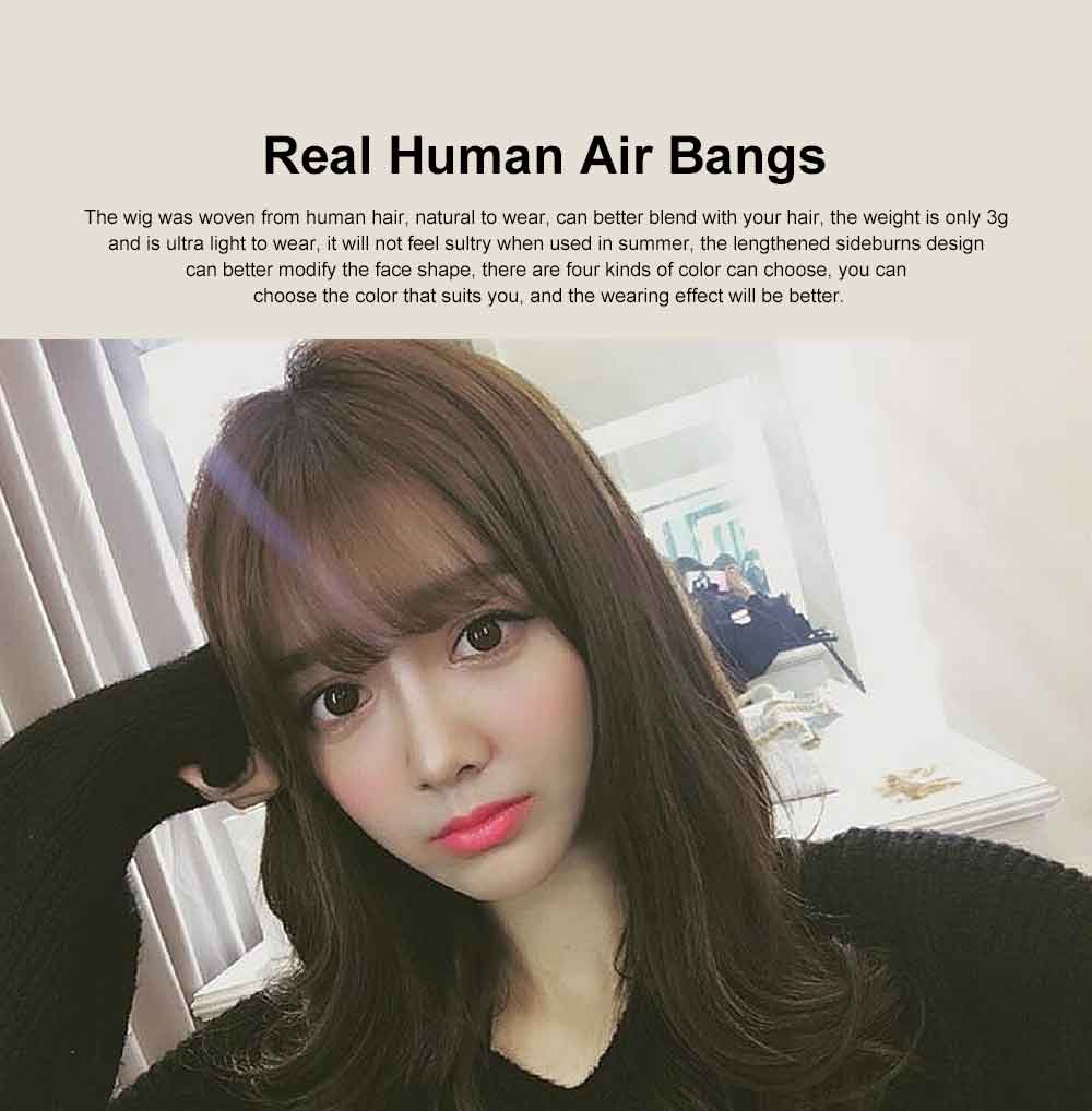 Real Human Hair Mini Thin Air Bangs Clip Hand-woven Neat Hairpiece Fringe Front Natural Wig 0