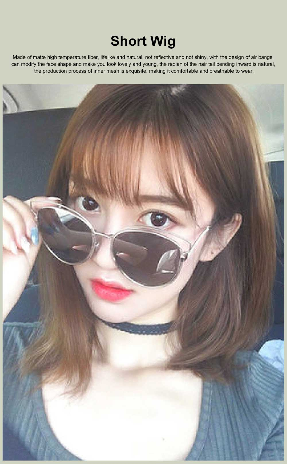 Middle-length Fake Hair for Women, Natural Cute Curly Long Hair with Bangs Head Type Round Face Short Wig 0