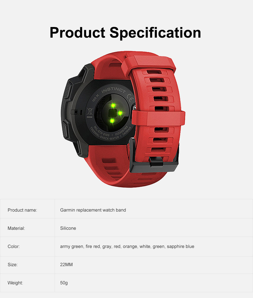 Sport Silicone Watch Band Replacement Soft Silicone Strap Compatible with Garmin instinct Watch 6