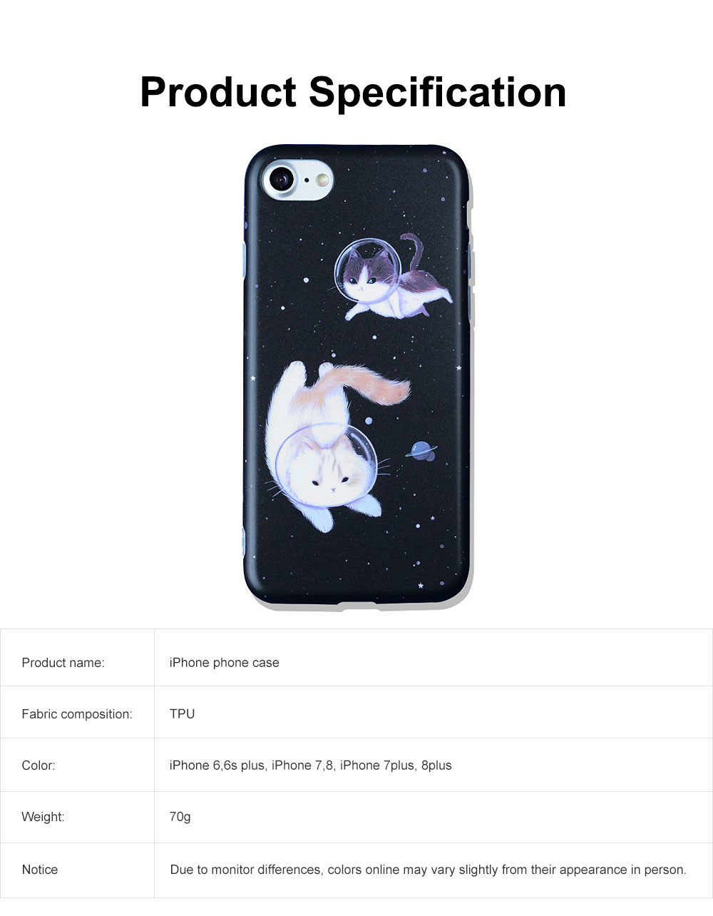 Space Cat Frosted PC Soft Protective Case for iPhone 6 6s Plus/ 7/ 8/ 7 Plus/8 Plus, Shockproof Anti Scratch Phone Back Cover Case  5