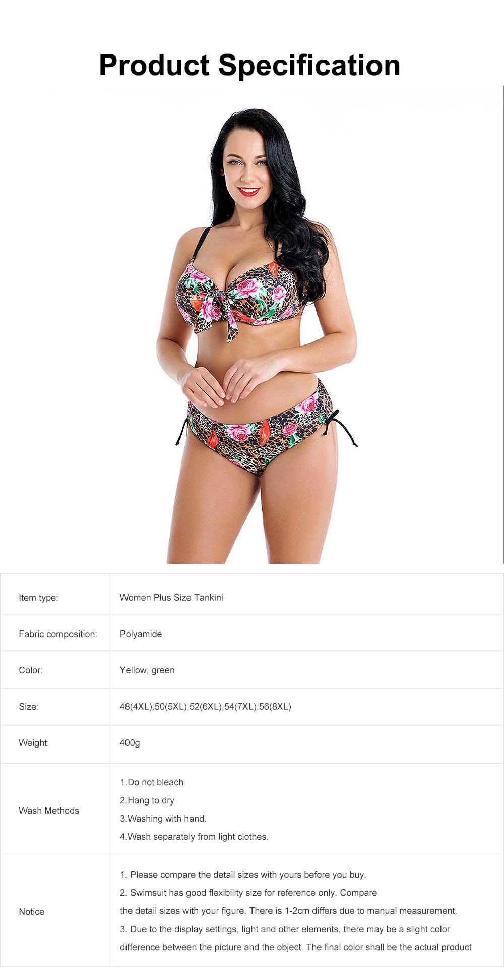 2019 Women's Plus Size Tankini Falsies Bikini with Steel Bracket, Fashion Printed Sexy Bikini, Large Size Two Pieces Swimsuit for Girls 5