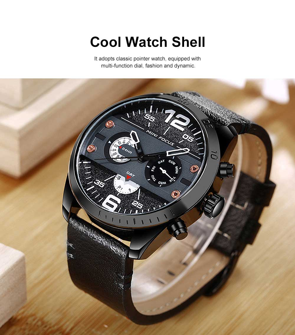 Men's Fashion Watch Leather Strap Alloy Wristwatch Luminous Water Proof Quartz Mechanical Watch with Calendar Display 1
