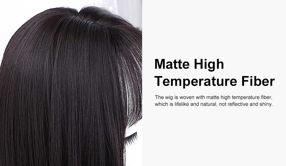 Middle-length Fake Hair for Women, Natural Cute Curly Long Hair with Bangs Head Type Round Face Short Wig 2