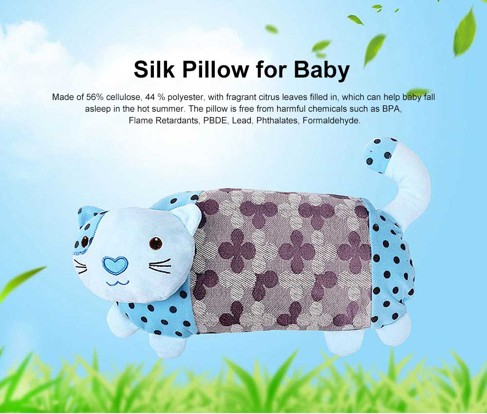 Multifunctional Silk Baby Pillow, Rectangular Babies Neck Protecting Cool Pillow in Summer, Cat Image Ice Silk Pillow for Infant 0
