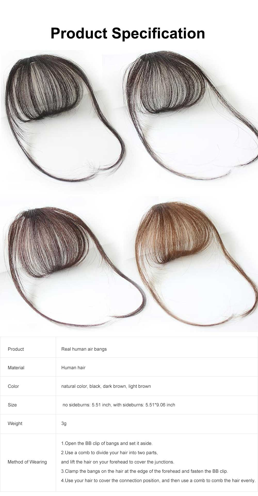 Real Human Hair Mini Thin Air Bangs Clip Hand-woven Neat Hairpiece Fringe Front Natural Wig 6