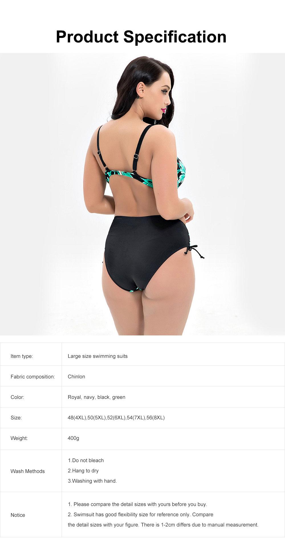 Women's Large Size Sexy Swimming Suits, Two-Piece Plus Size Beachwear, Fashion Printing Bathing Suits 4XL 5XL 6XL 7XL 8XL 6