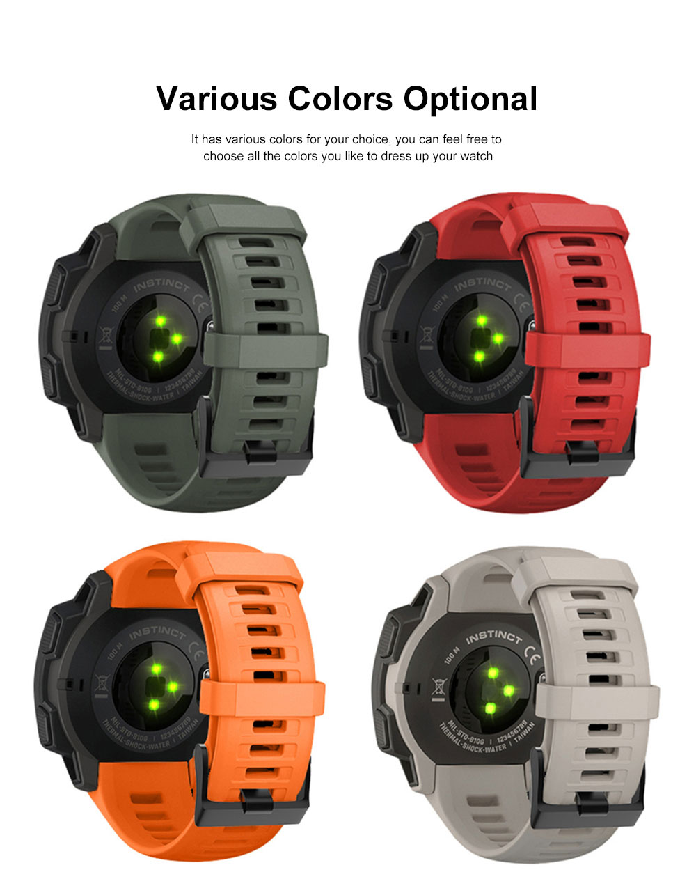 Sport Silicone Watch Band Replacement Soft Silicone Strap Compatible with Garmin instinct Watch 1