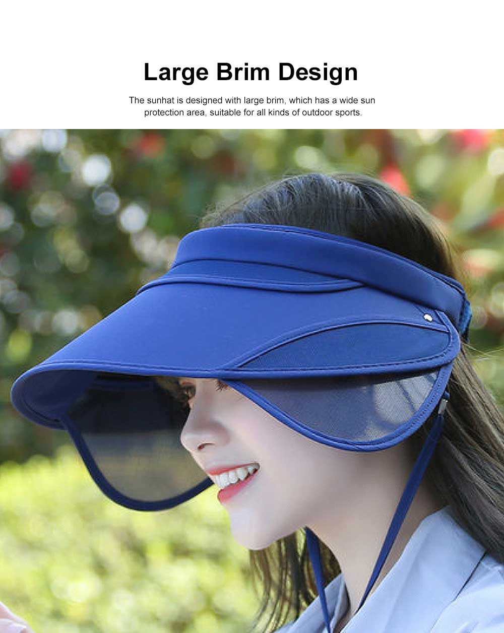 Spring Summer Sunhat for Women and Men, Unisex Large Brimmed Hat, Face-hiding Retractable Outdoor Beach Hat 1