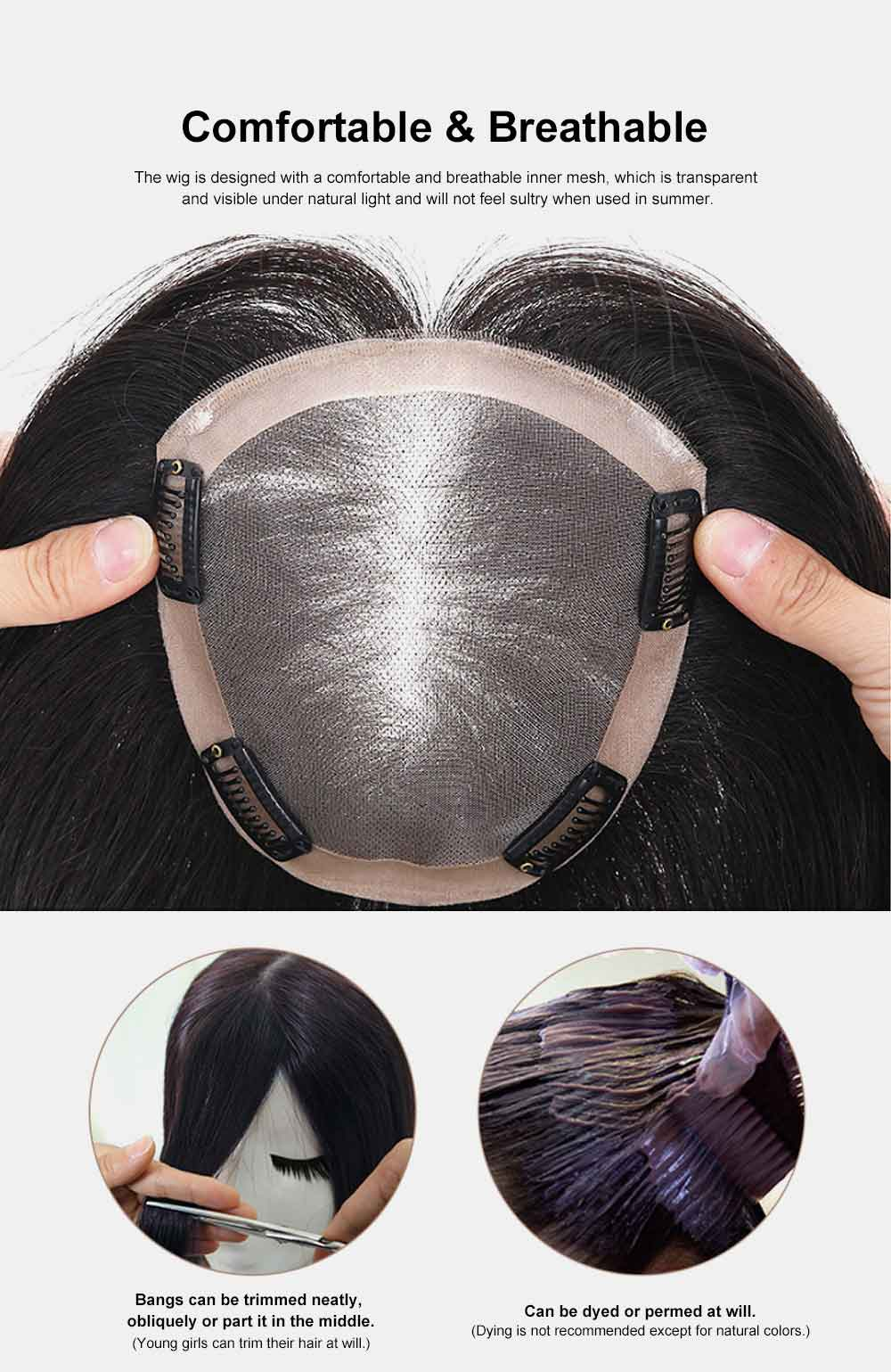 Real Hair Wig Piece Color Thin and Light Straight Hair Piece Natural Full Head Clip Women Ladies Hand-woven Wig 2