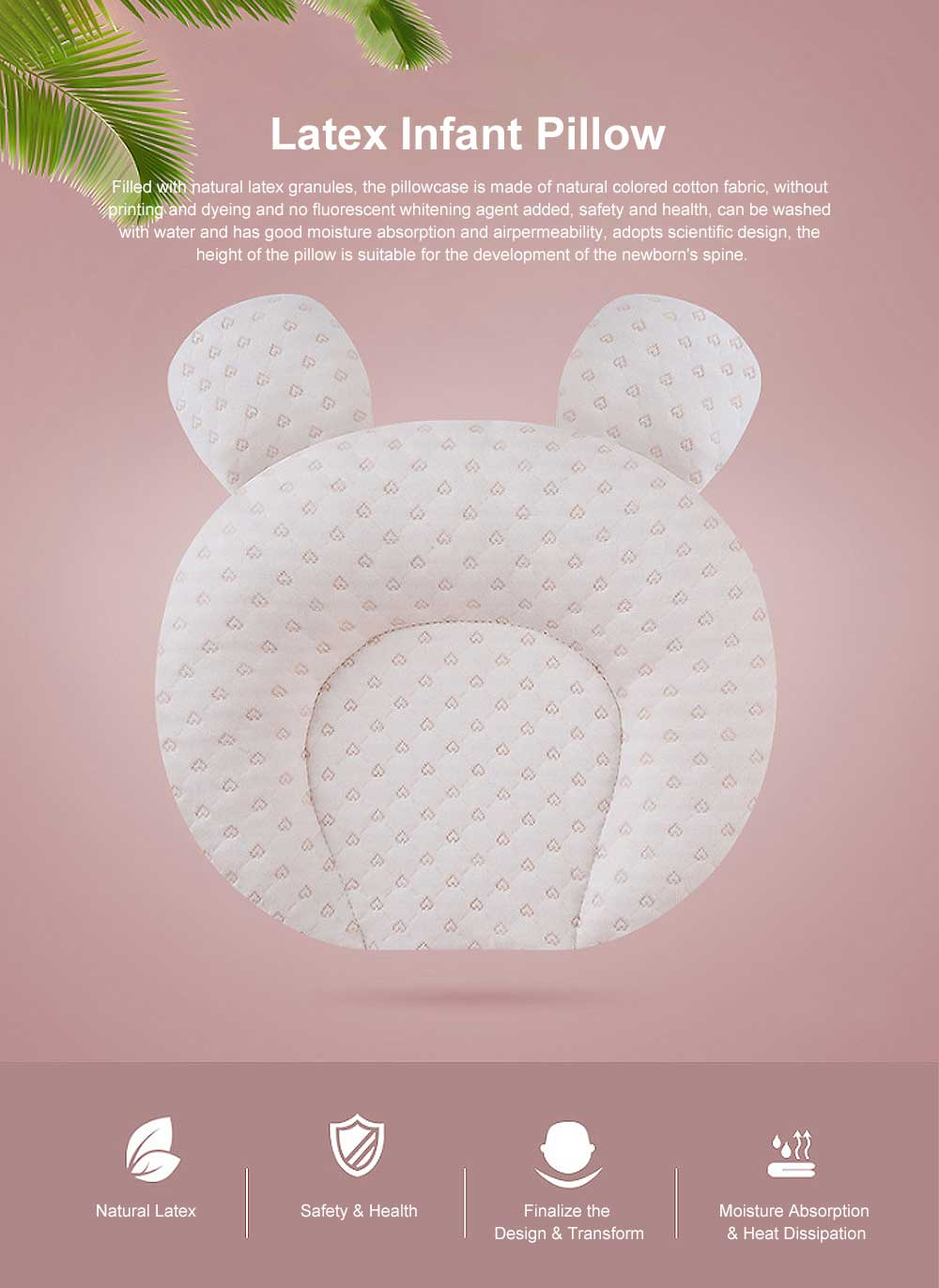 Infant Pillow Natural Latex Baby Pillow for 6 Months Newborn Prevent Flat Head Anti Roll Neck Support Breathable Pillow 0