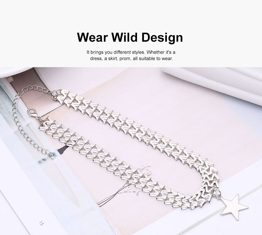 Women Fashion Star Necklace, Punk Clavicle Necklace Jewelry, Snake Bone Shape Necklace for Girl Women 2