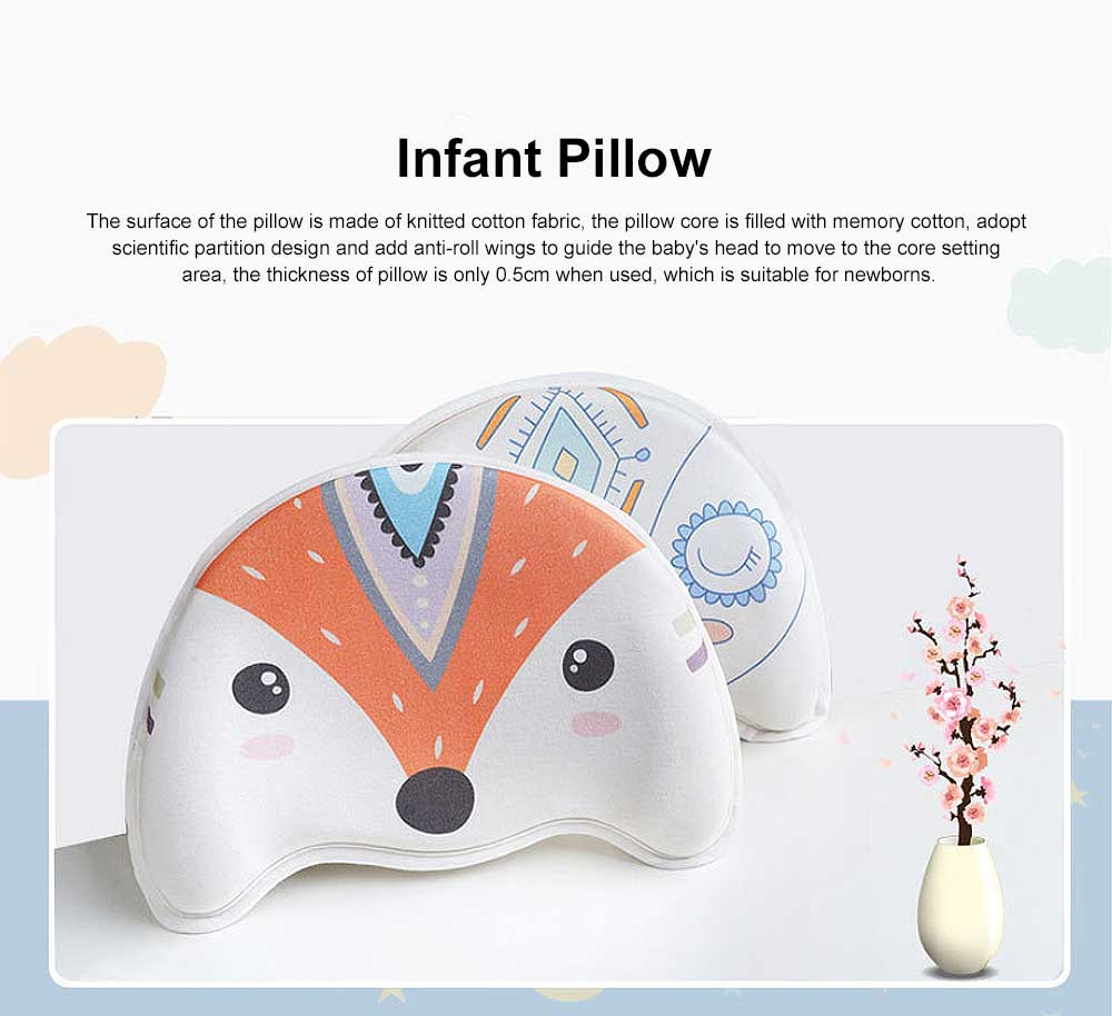 Memory Cotton Infant Pillow Prevent Flat Head Anti Roll Neck Support Breathable Pillow For 0-1 Year Babies Newborn Pillow 0