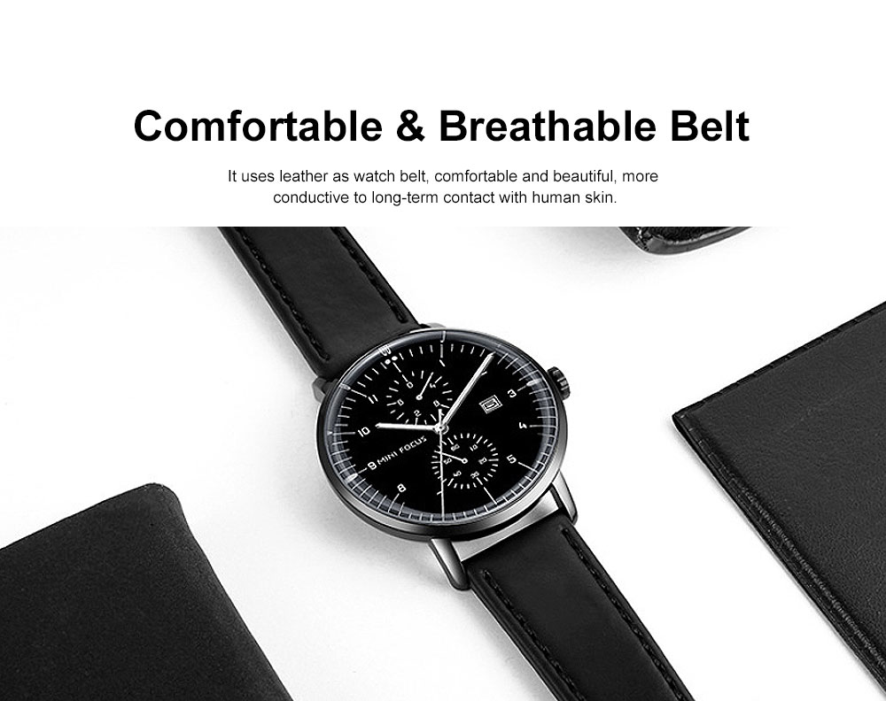 Men's Fashion Watch with Calendar Luminous Waterproof Wristwatch Leather Strap Watch 2