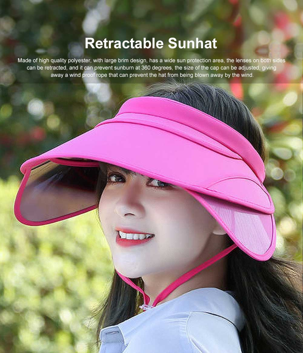 Spring Summer Sunhat for Women and Men, Unisex Large Brimmed Hat, Face-hiding Retractable Outdoor Beach Hat 0