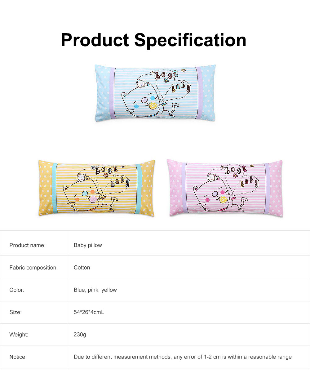 Soft Baby Pillow Anti-Headrest, Comfortable Cotton Pillow for 0-6 Months infant newborn Baby, Candy Cat Pillow 6