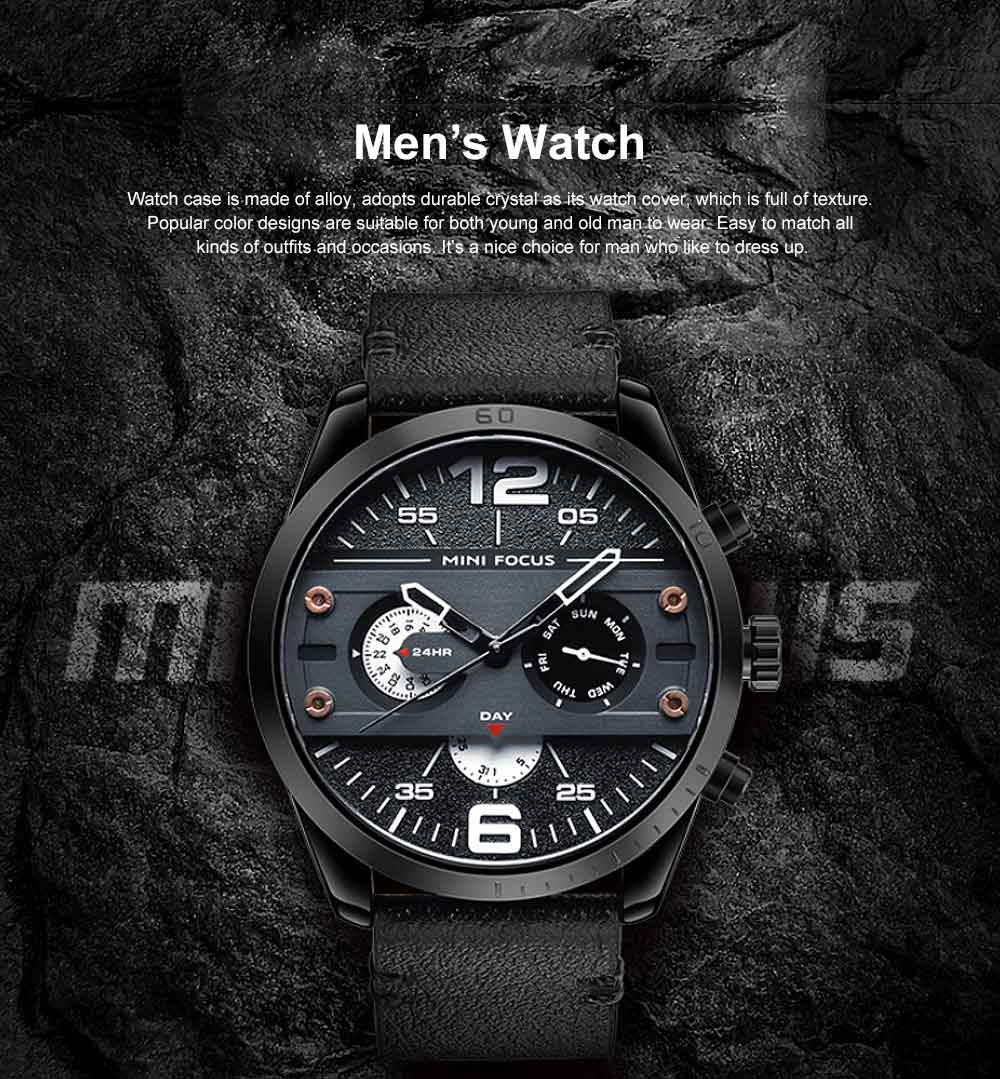 Men's Fashion Watch Leather Strap Alloy Wristwatch Luminous Water Proof Quartz Mechanical Watch with Calendar Display 0