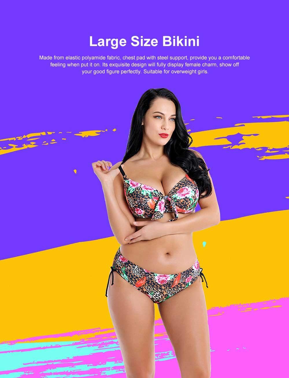 2019 Women's Plus Size Tankini Falsies Bikini with Steel Bracket, Fashion Printed Sexy Bikini, Large Size Two Pieces Swimsuit for Girls 0
