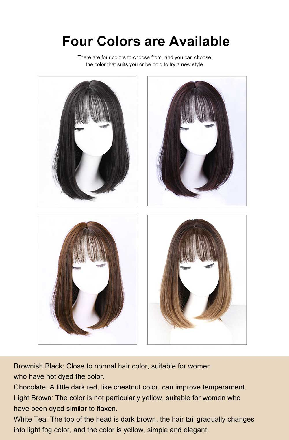 Middle-length Fake Hair for Women, Natural Cute Curly Long Hair with Bangs Head Type Round Face Short Wig 5