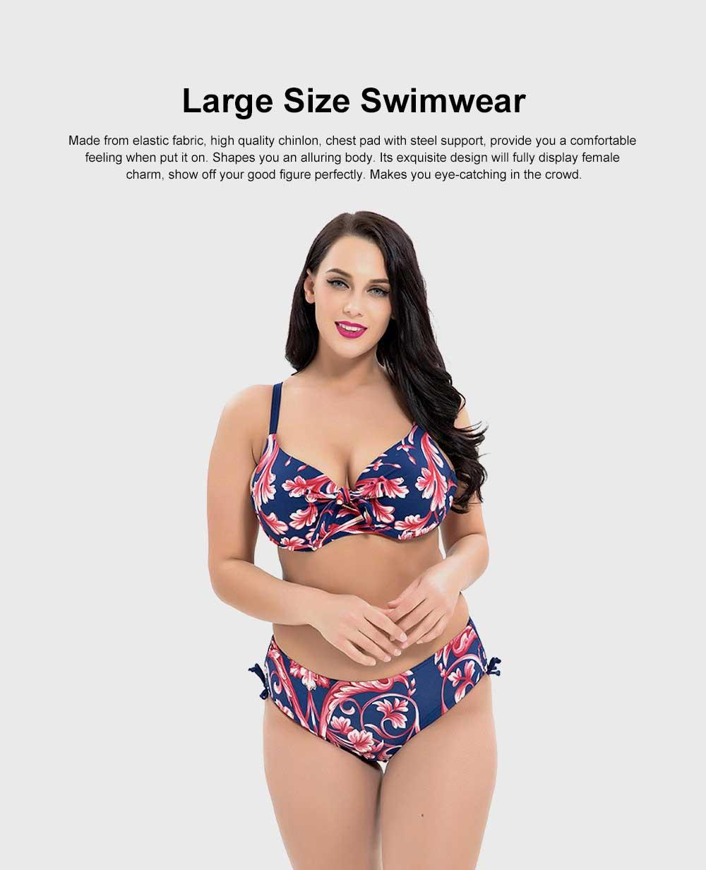 Women's Large Size Sexy Swimming Suits, Two-Piece Plus Size Beachwear, Fashion Printing Bathing Suits 4XL 5XL 6XL 7XL 8XL 0