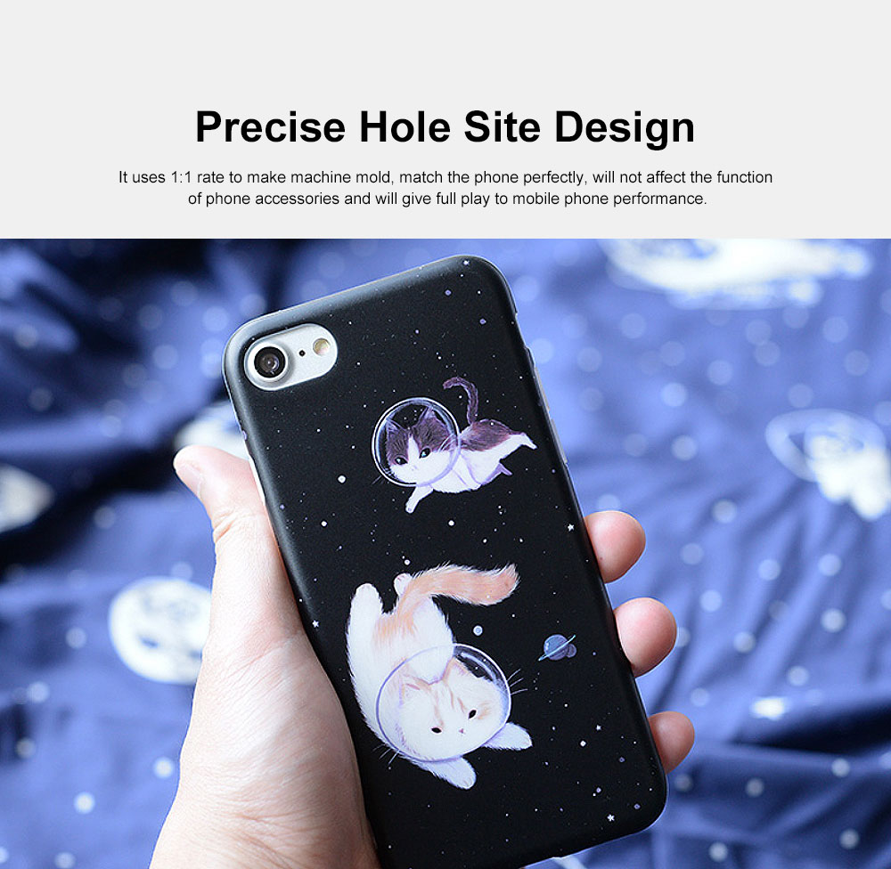Space Cat Frosted PC Soft Protective Case for iPhone 6 6s Plus/ 7/ 8/ 7 Plus/8 Plus, Shockproof Anti Scratch Phone Back Cover Case  4