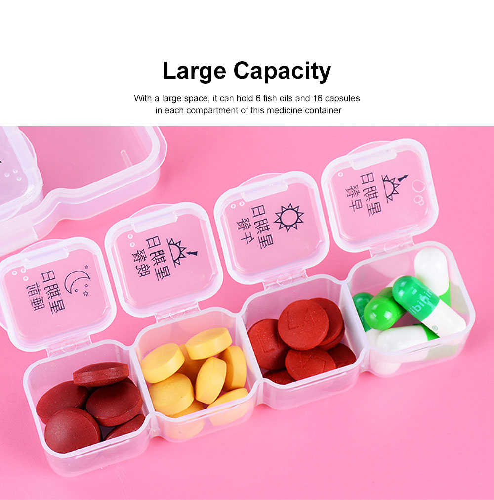 Weekly Pill Organizer Portable 7 Day Pill Box Case with 28 Large Separate Compartments for Medication, Vitamins, Fish Oil and Supplements 1