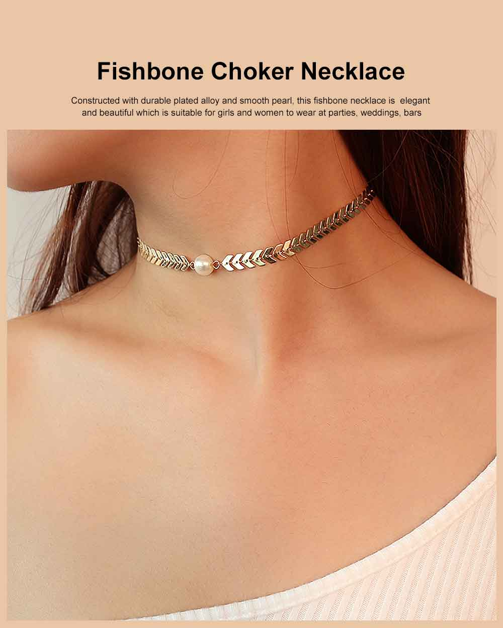Fishbone Choker Necklace Pearl Pendant Chain Casual Choker Necklace for Women and Girls 0