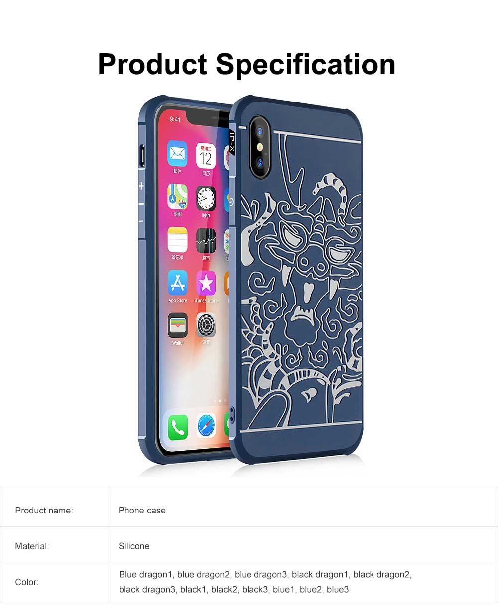 Silicone iPhone Protective Case Shell Slim Phone Back Cover with Full Body Protection with Dragon Pattern for iPhone X XS XR XS MAX 6