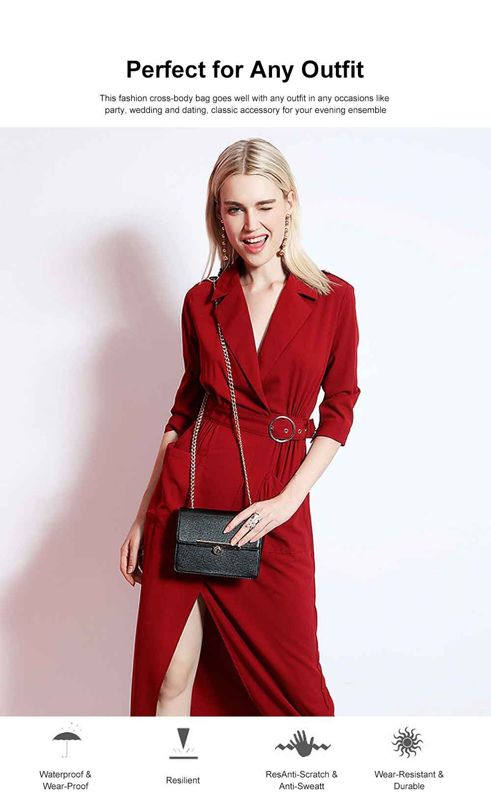 PU Leather Cross-Body Shoulder Clutch Purse Evening Handbag with Chain 2