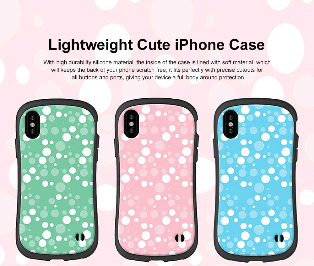 Cute Slim Lightweight iPhone Case with Polka Dot Pattern Shatter-proof Silicone Soft Shell Case for Apple iPhone 6 6S 7 8 6 plus 6s plus 7 plus 8 plus X 0