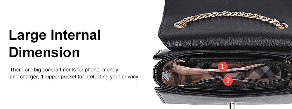 PU Leather Cross-Body Shoulder Clutch Purse Evening Handbag with Chain 4