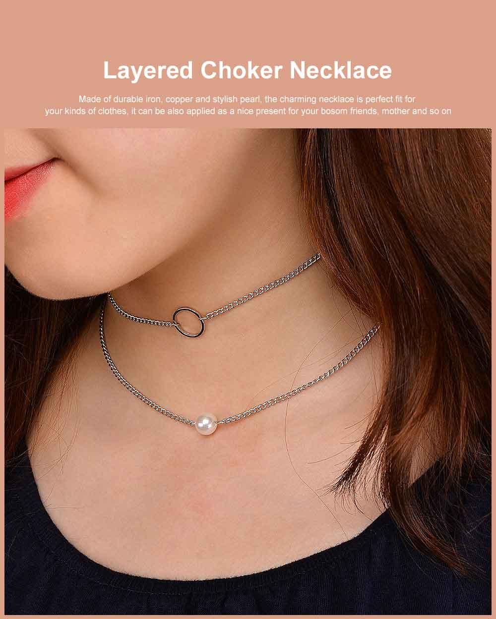 Layered Choker Necklace Pearl Pendant Necklace Double Anti-Rusty Chain Personalized Jewelry Gift for Women 0
