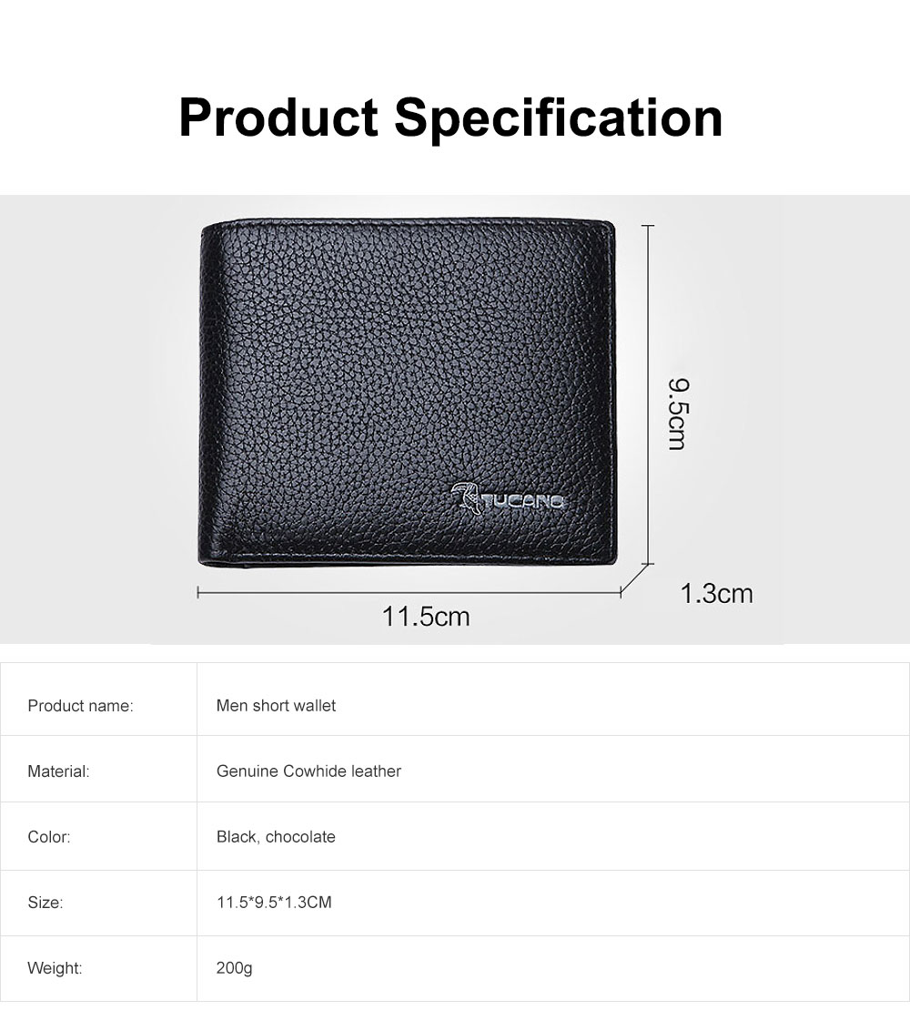 Men's Thin Sleek Casual Bifold Wallet with Credit Card Pockets Compact Cowhide Leather Wallet 6