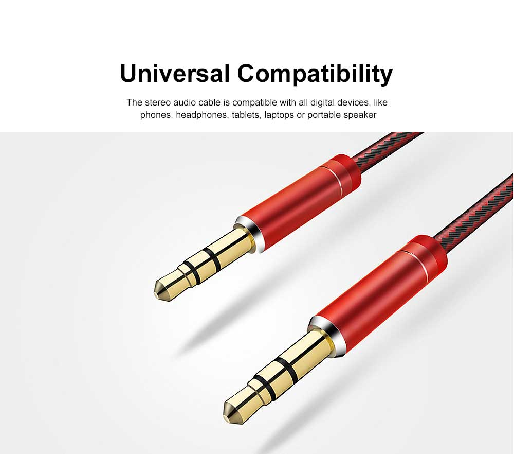 1 M High Quality Sound Audio Cable Nylon Braided AUX Cord with Metallic Housing & Gold-Plated Plug 5
