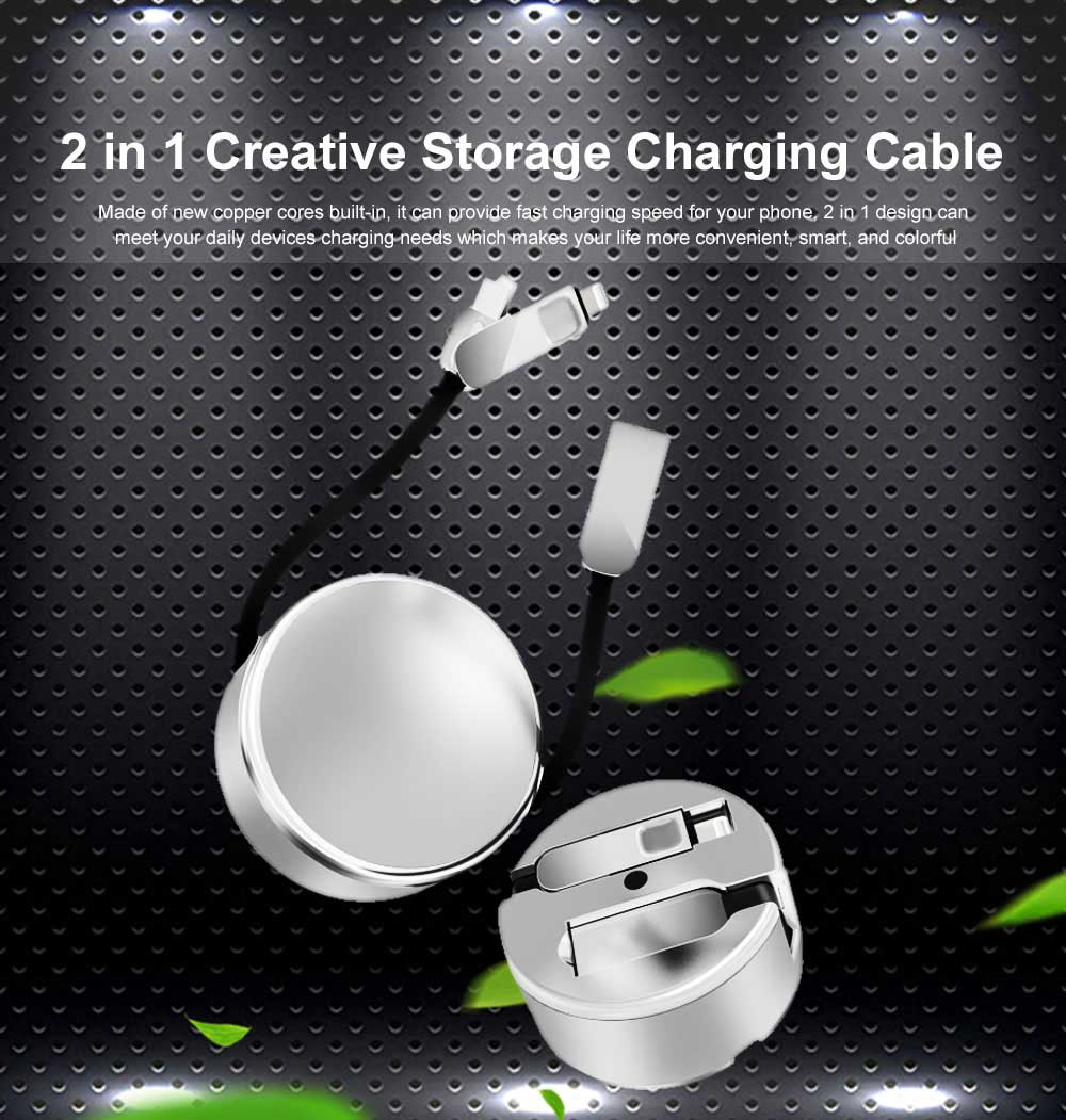 2.4A Fast Charger Cable Retractable Data Cable Phone Transfer Charger Universal Compatible with Cell Phones Tablets Use 0