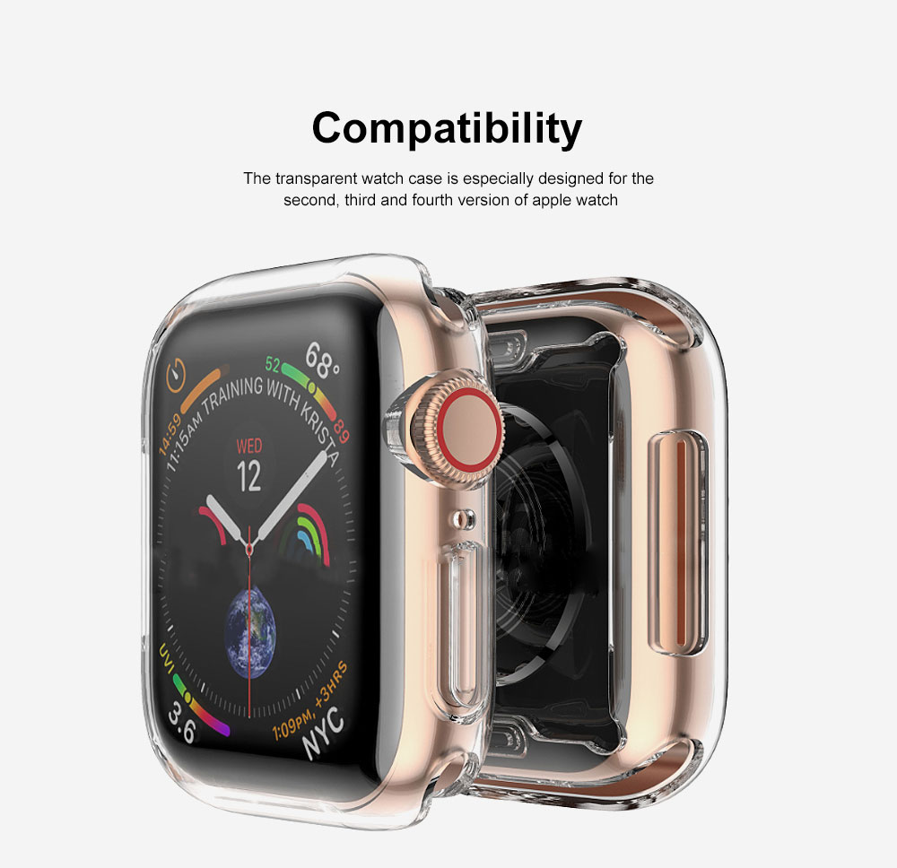 Apple Watch Case Built in TPU Screen Protector All-Around Protective Cover High Definition Clear Ultra-Thin Shell for Apple Watch Series 4 3 and Series 2 1