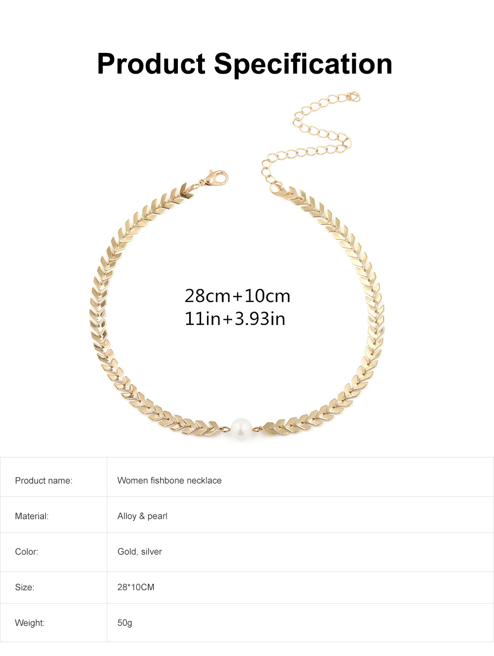 Fishbone Choker Necklace Pearl Pendant Chain Casual Choker Necklace for Women and Girls 6