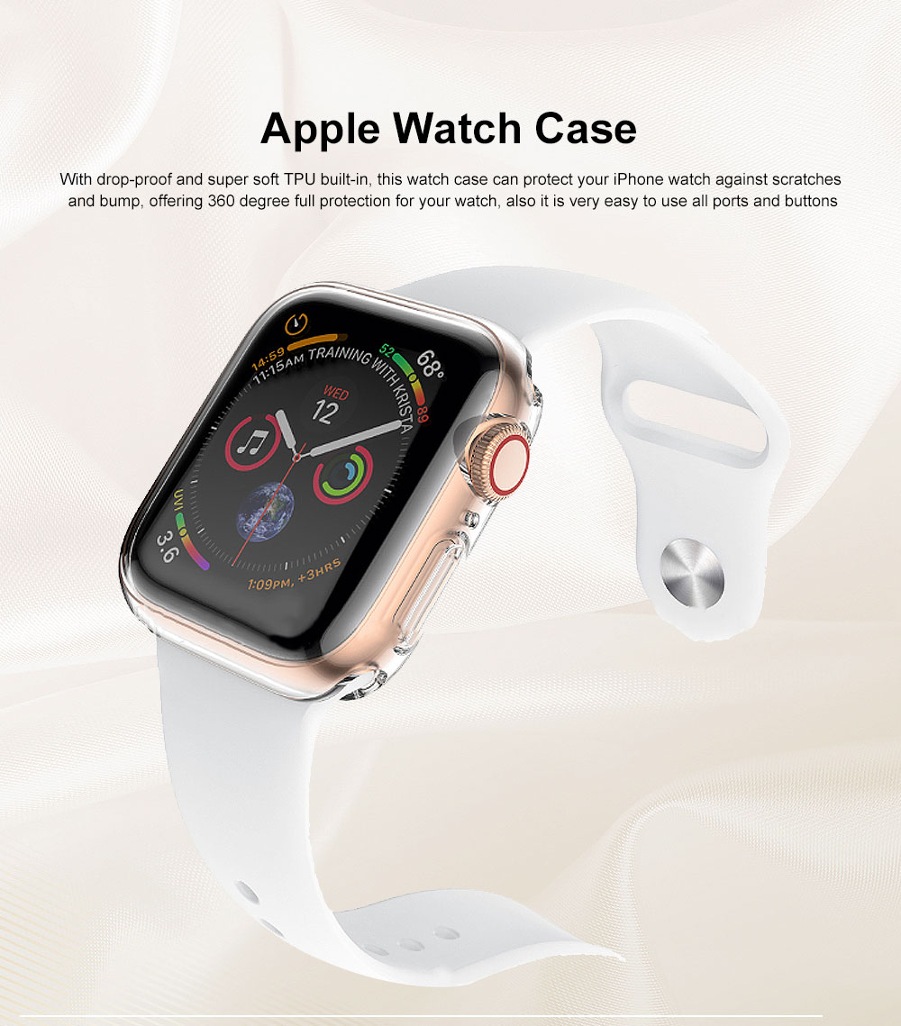 Apple Watch Case Built in TPU Screen Protector All-Around Protective Cover High Definition Clear Ultra-Thin Shell for Apple Watch Series 4 3 and Series 2 0