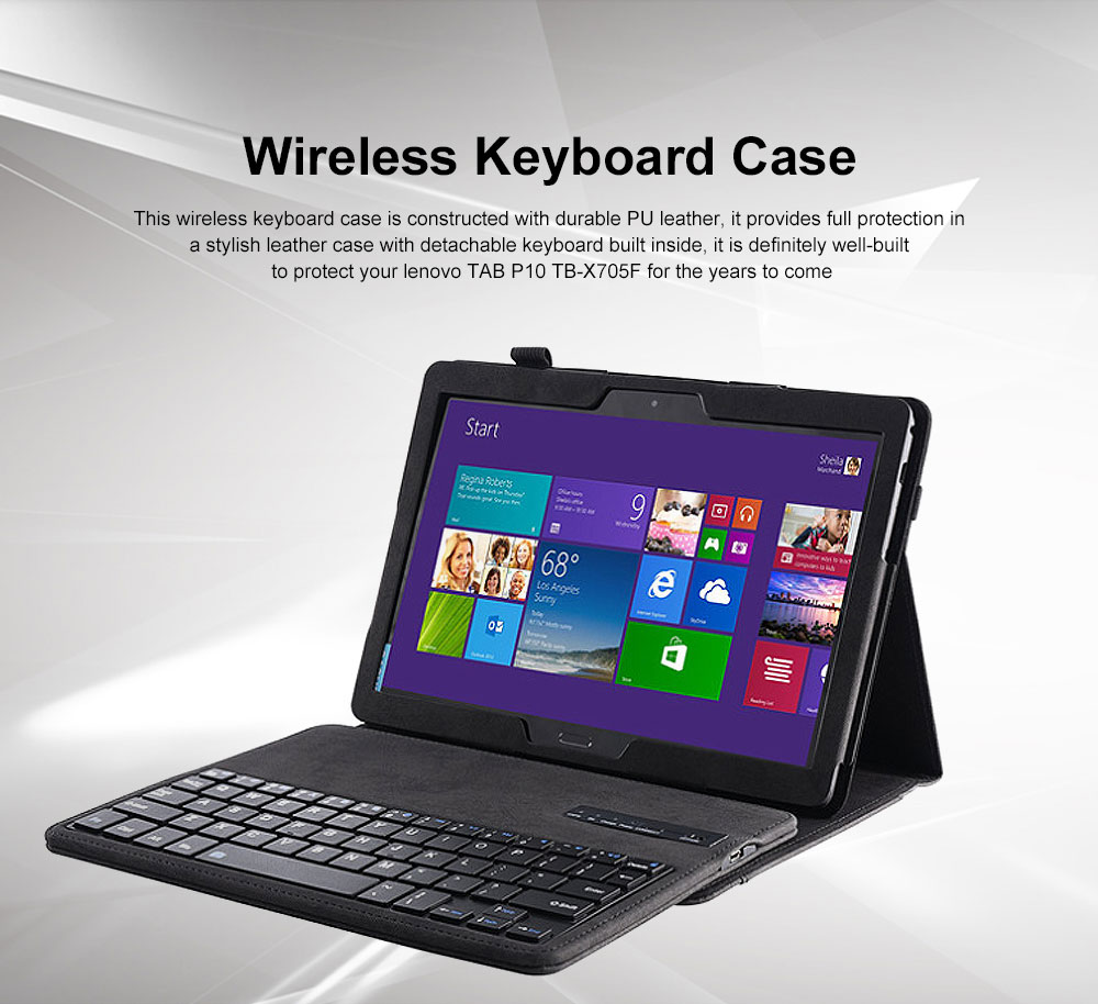 Keyboard Case Front Protective Stand Case with Detachable Keyboard for Lenovo Tab P10 TB-X705F M10 0