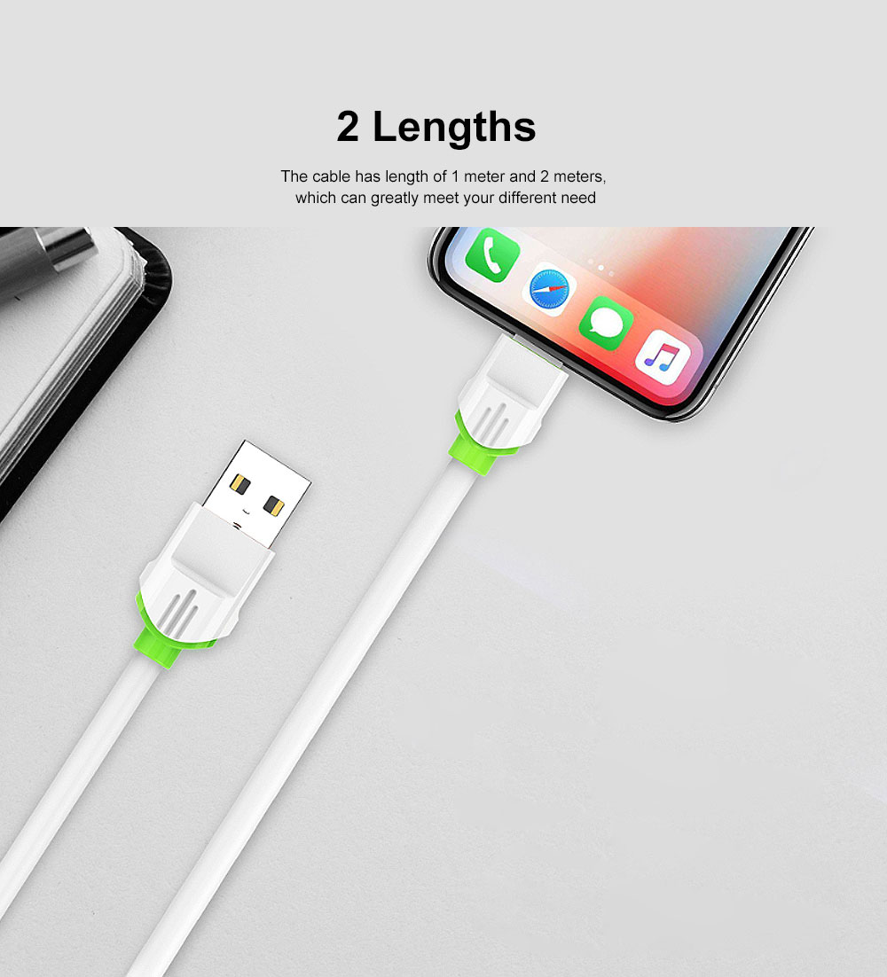 2.1A 1m USB Charging Cable Android iPhone Type C Phone Fast Charger Cord White 2