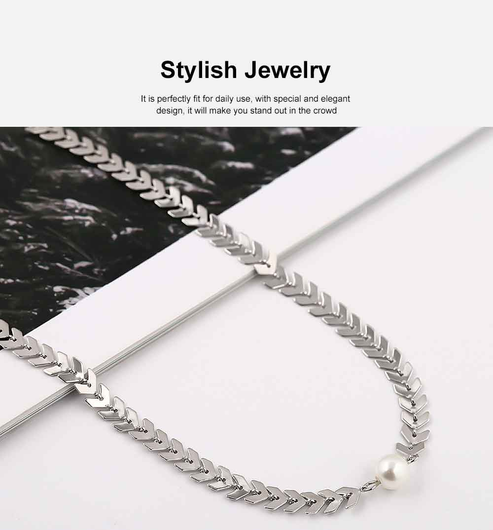 Fishbone Choker Necklace Pearl Pendant Chain Casual Choker Necklace for Women and Girls 4