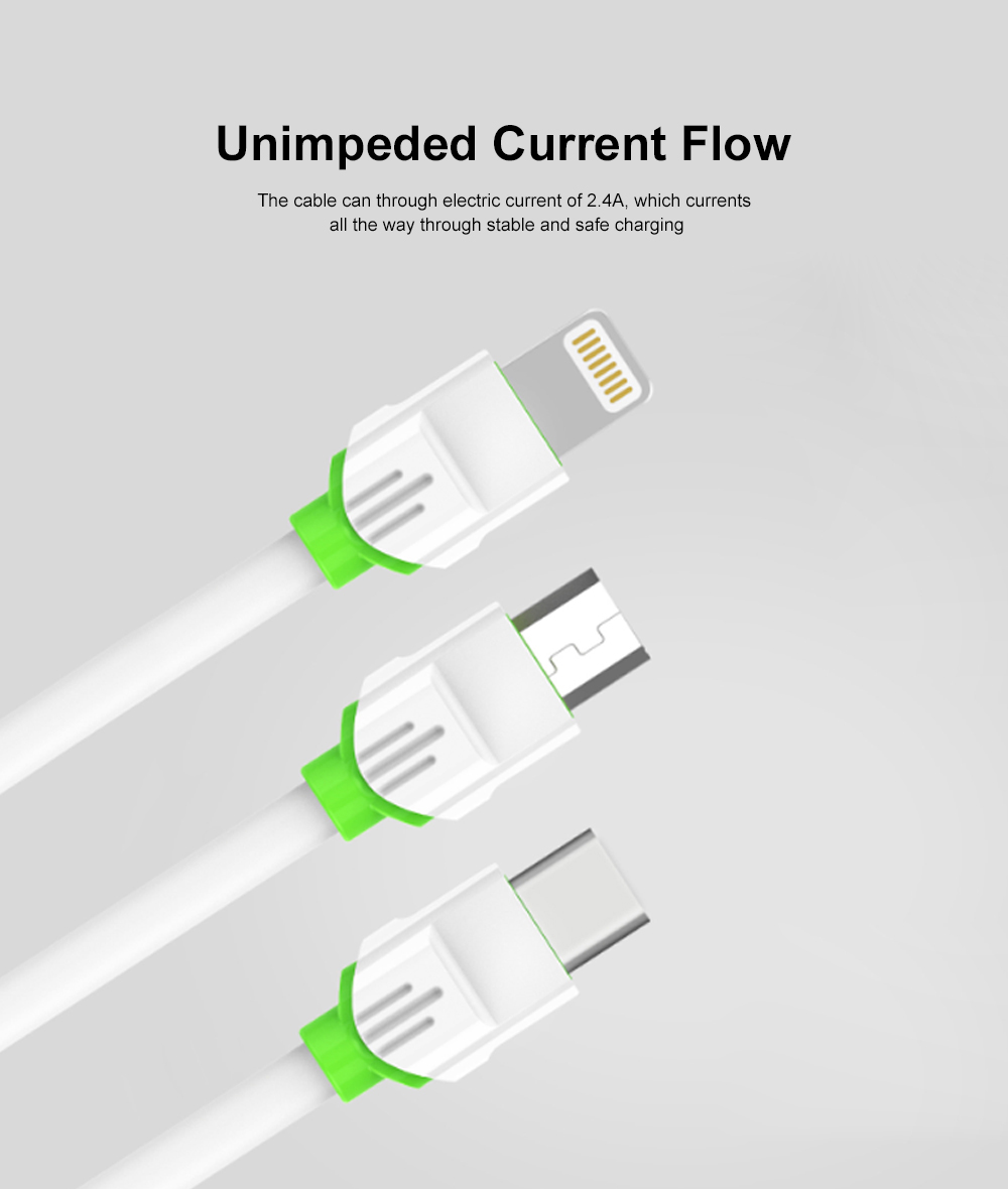2.1A 1m USB Charging Cable Android iPhone Type C Phone Fast Charger Cord White 5