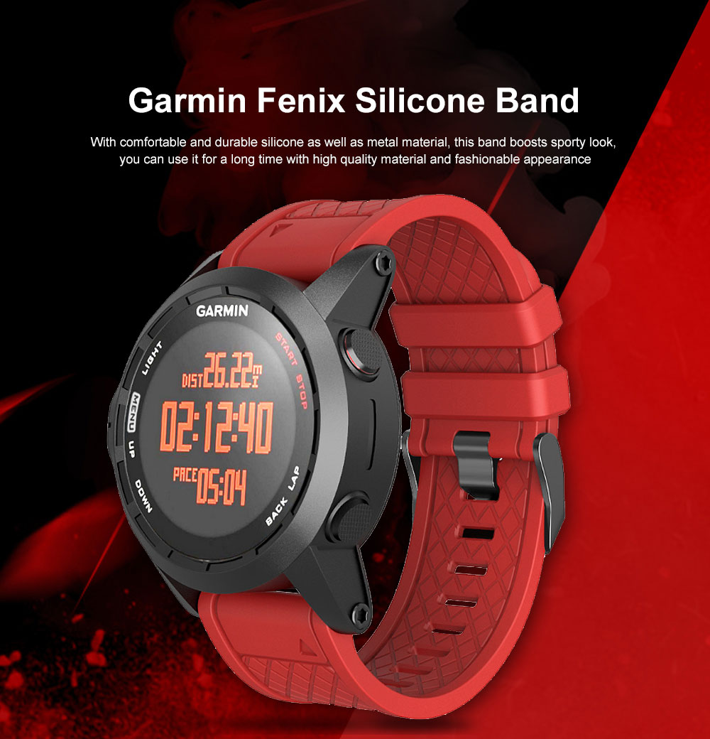 Silicone Replacement Watch Band with Stainless Steel Buckle for Garmin Fenix 1 Fenix 2 Fenix 3 Fenix 3 HR Fenix 5X 0