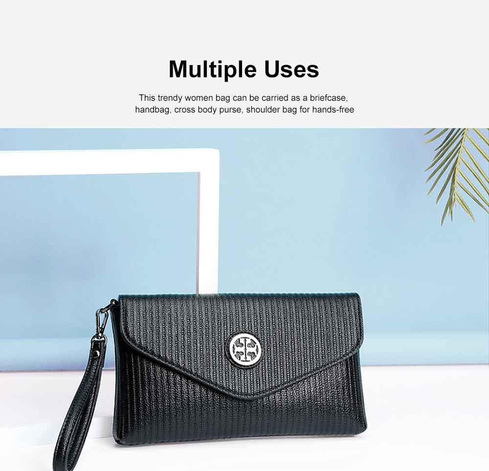 Women's Stylish Practical PU Leather Shoulder Bag Handbag with Detachable Shoulder Strap Black 3