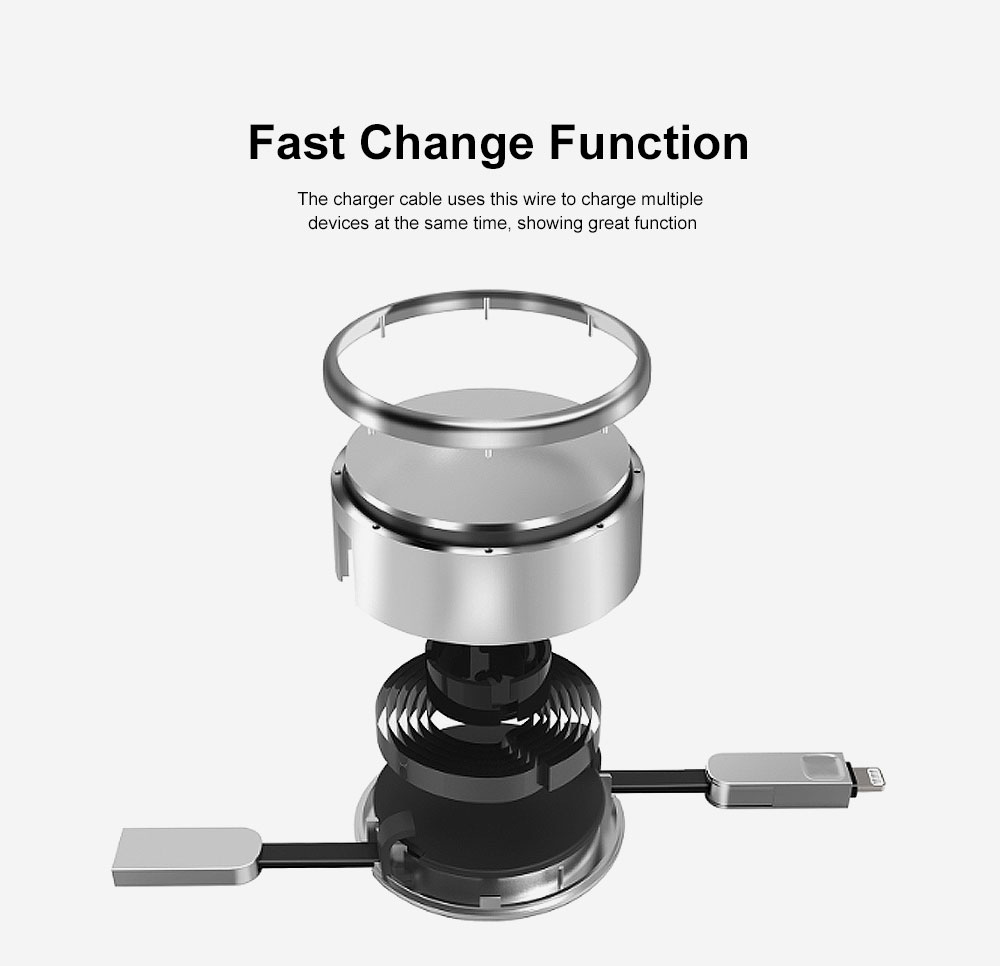 2.4A Fast Charger Cable Retractable Data Cable Phone Transfer Charger Universal Compatible with Cell Phones Tablets Use 1