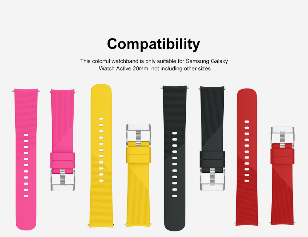 Replacement Band for Galaxy Watch Active Bands, Silicone Replacement Sport Strap Band Compatible for Samsung Galaxy Watch Active 20mm 1