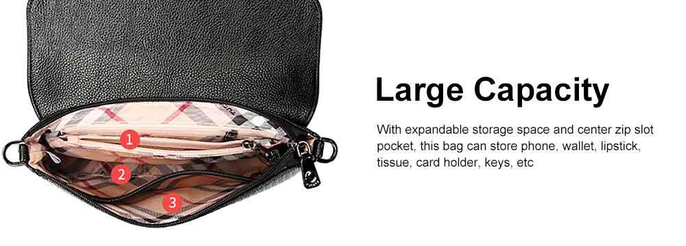 Women's Stylish Practical PU Leather Shoulder Bag Handbag with Detachable Shoulder Strap Black 4