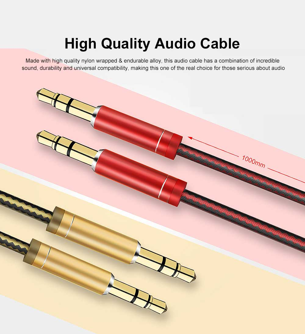 1 M High Quality Sound Audio Cable Nylon Braided AUX Cord with Metallic Housing & Gold-Plated Plug 0