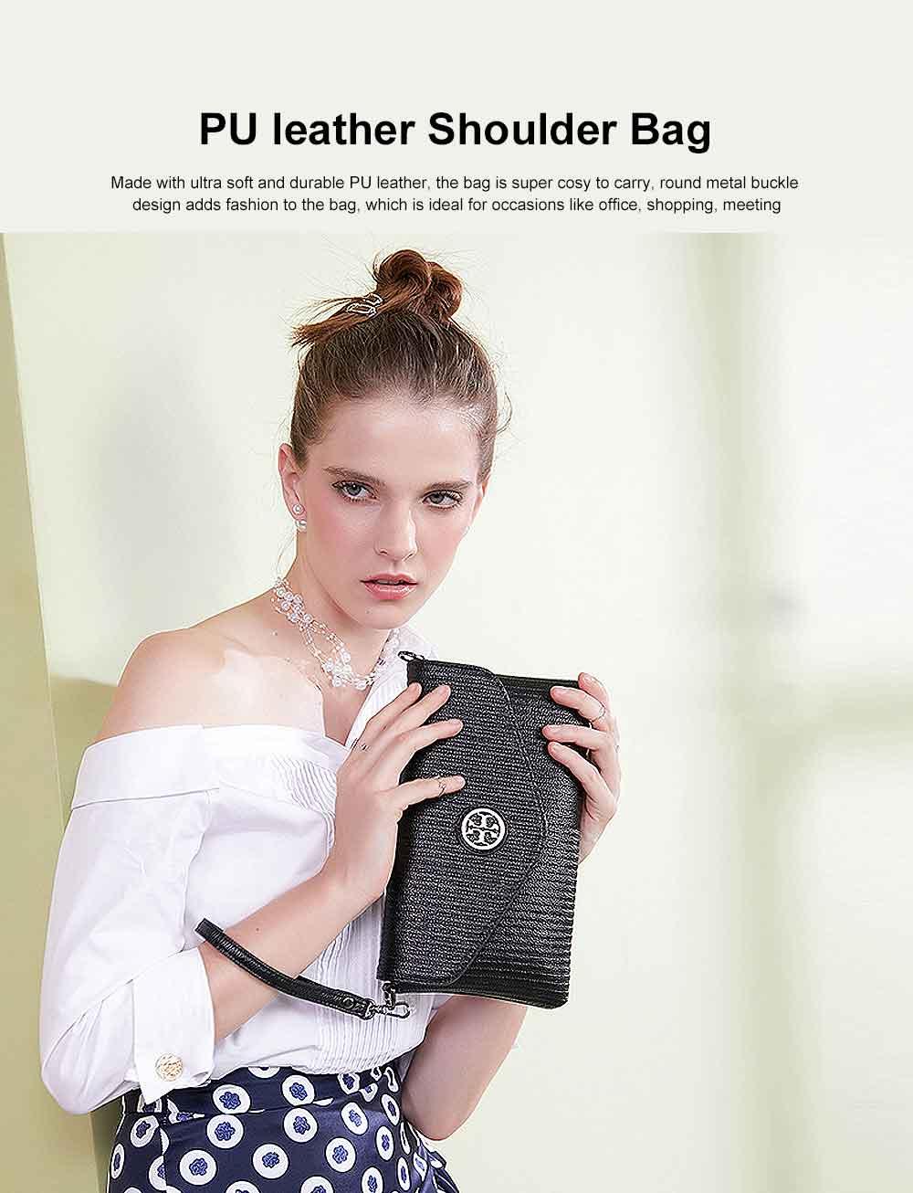 Women's Stylish Practical PU Leather Shoulder Bag Handbag with Detachable Shoulder Strap Black 0