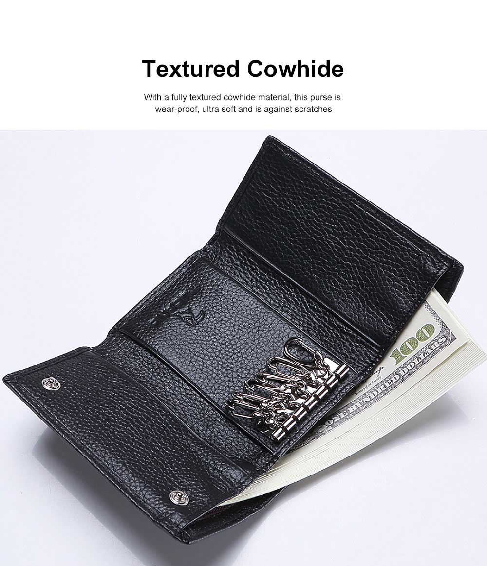 Genuine Cowhide Leather Unisex Style Wallet Large Capacity Key Bag for Both Men and Women 5