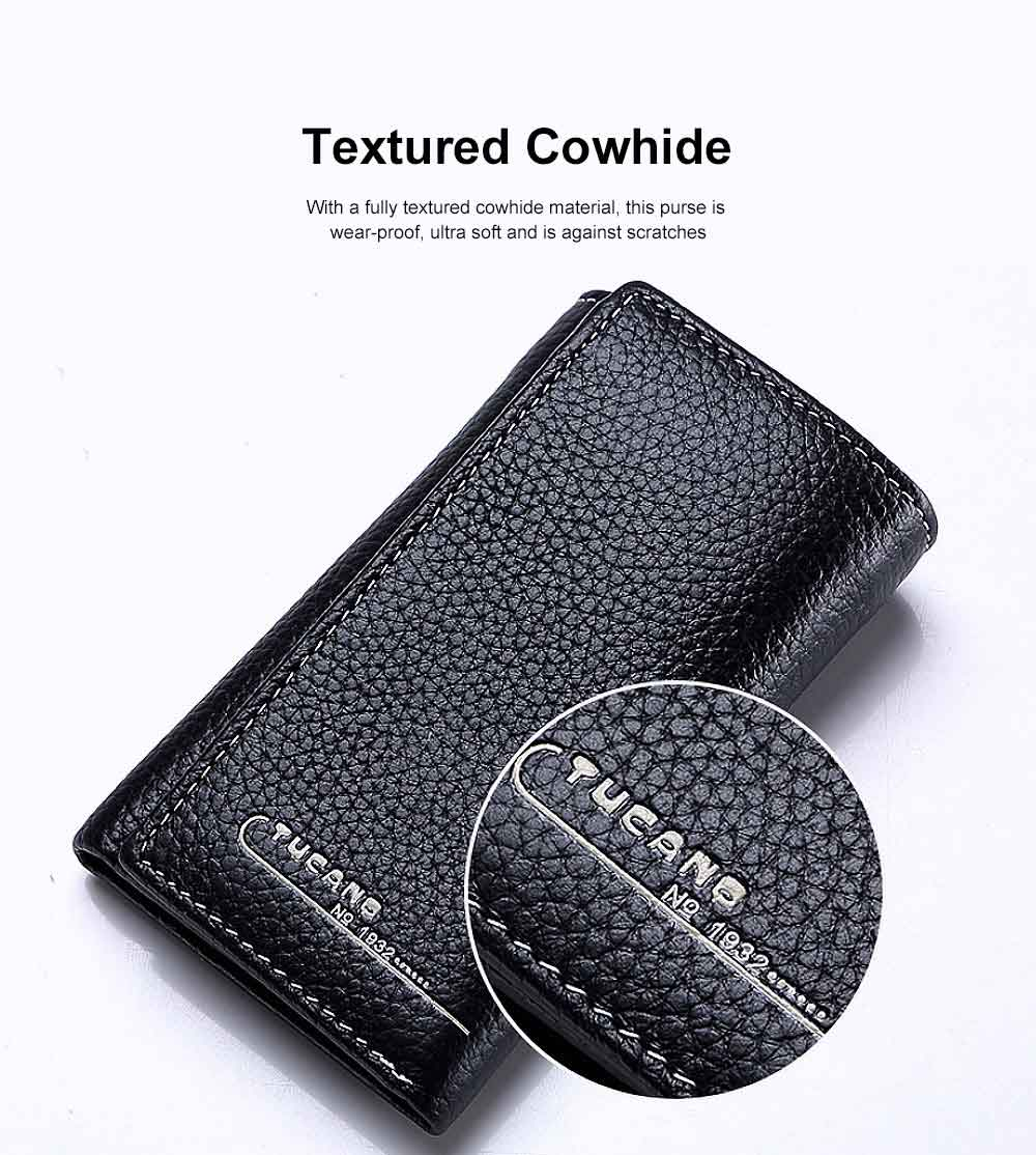 Genuine Cowhide Leather Unisex Style Wallet Large Capacity Key Bag for Both Men and Women 2